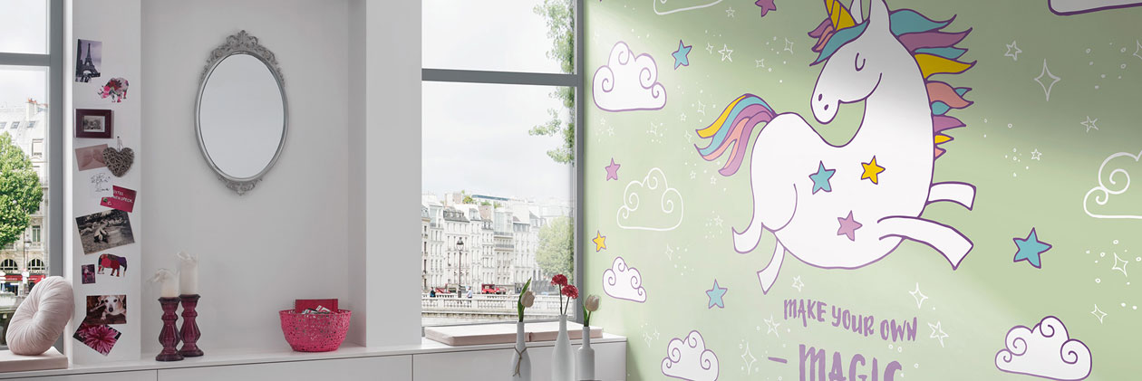 Collection de papiers peints «The Magic Unicorns» de «Livingwalls»